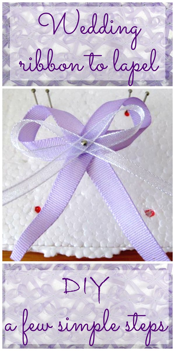 wedding ribbon to lapel